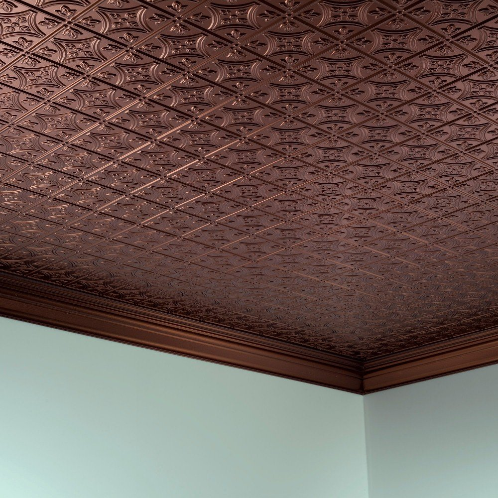 Fasade Easy Installation Traditional 1 Oil-Rubbed Bronze Glue Up Ceiling Tile / Ceiling Panel (2' x 4' Panel) by FASÄDE (Image #4)