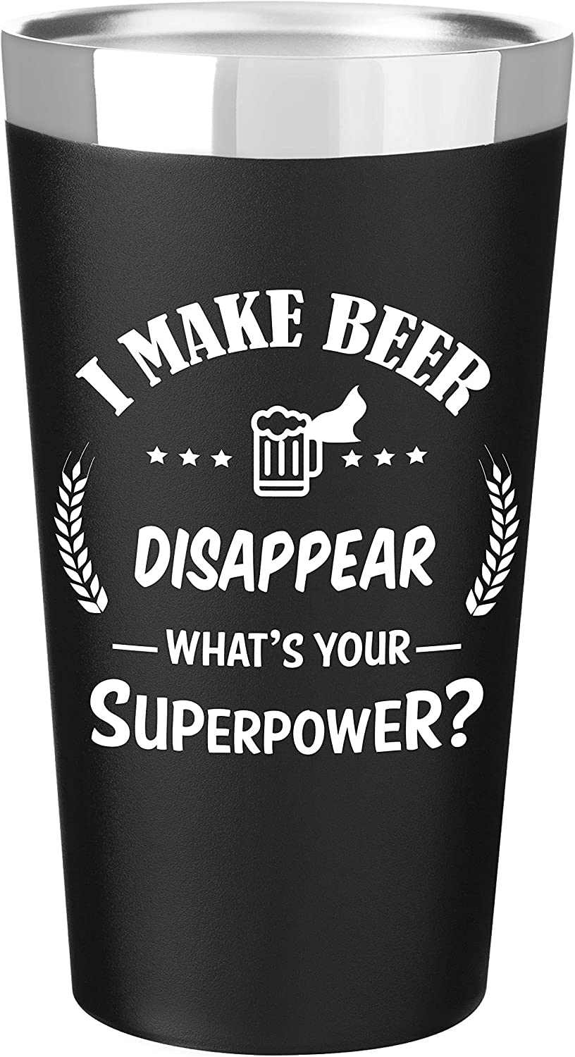 Ink Splash Promos Stainless Steel Beer Tumbler | Double Wall Vacuum Insulated | 16.9Oz Beer Mug with Funny Saying | Sweat-Free, BPA-Free Pint Glass | Gift Idea for Men & Women (Matte Black)