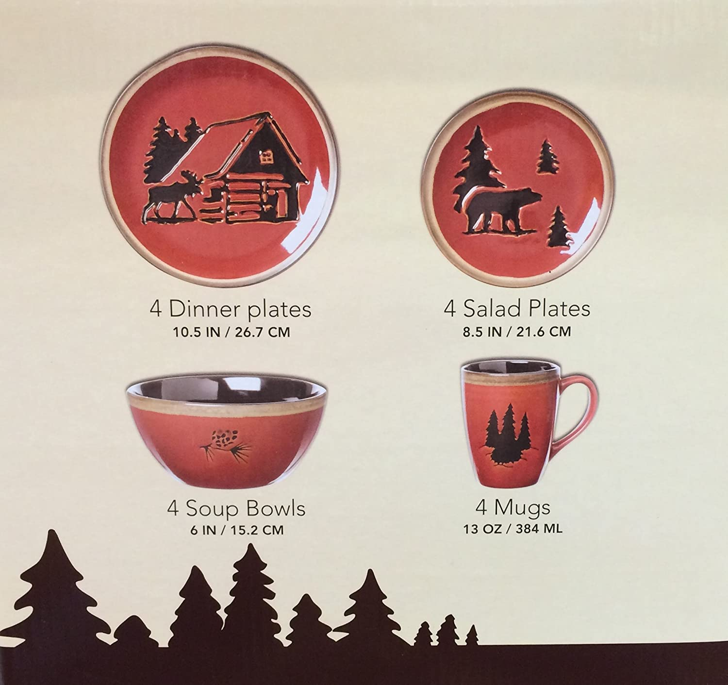 your for in wildlife decor black cabins dishes melamine cabin pin buy dining forest set the bear kitchen at dinnerware lodge rustic pcs and source a
