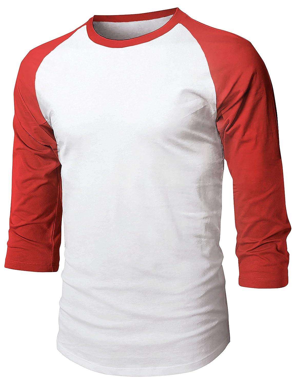 Hat and Beyond Mens Baseball Raglan 3//4 Sleeve Plain Casual Tee Basic Active T Shirts