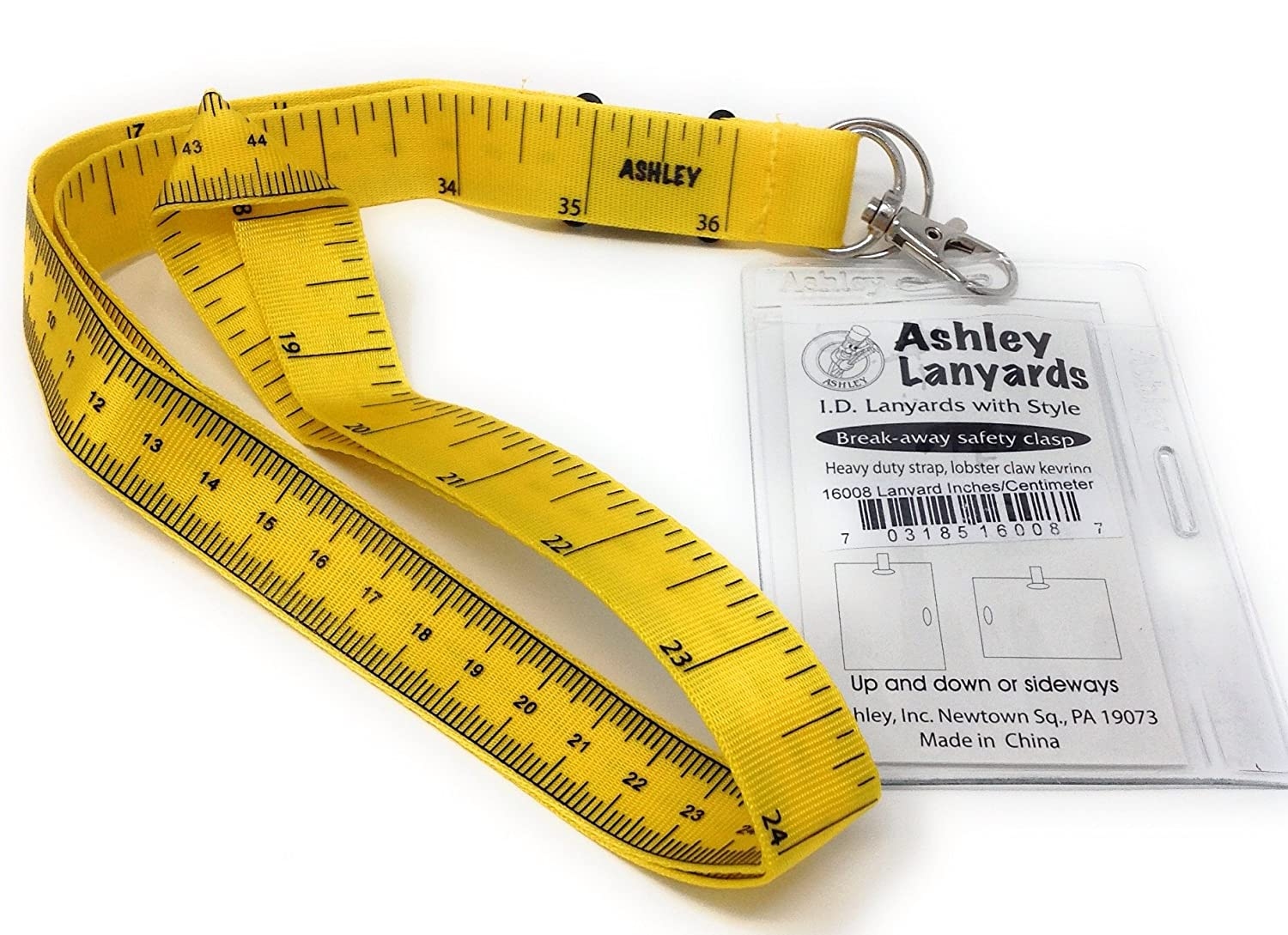 Lanyard Tape Measure with I.d. Holder and Keyring, Package of (1) Ashley Inc.