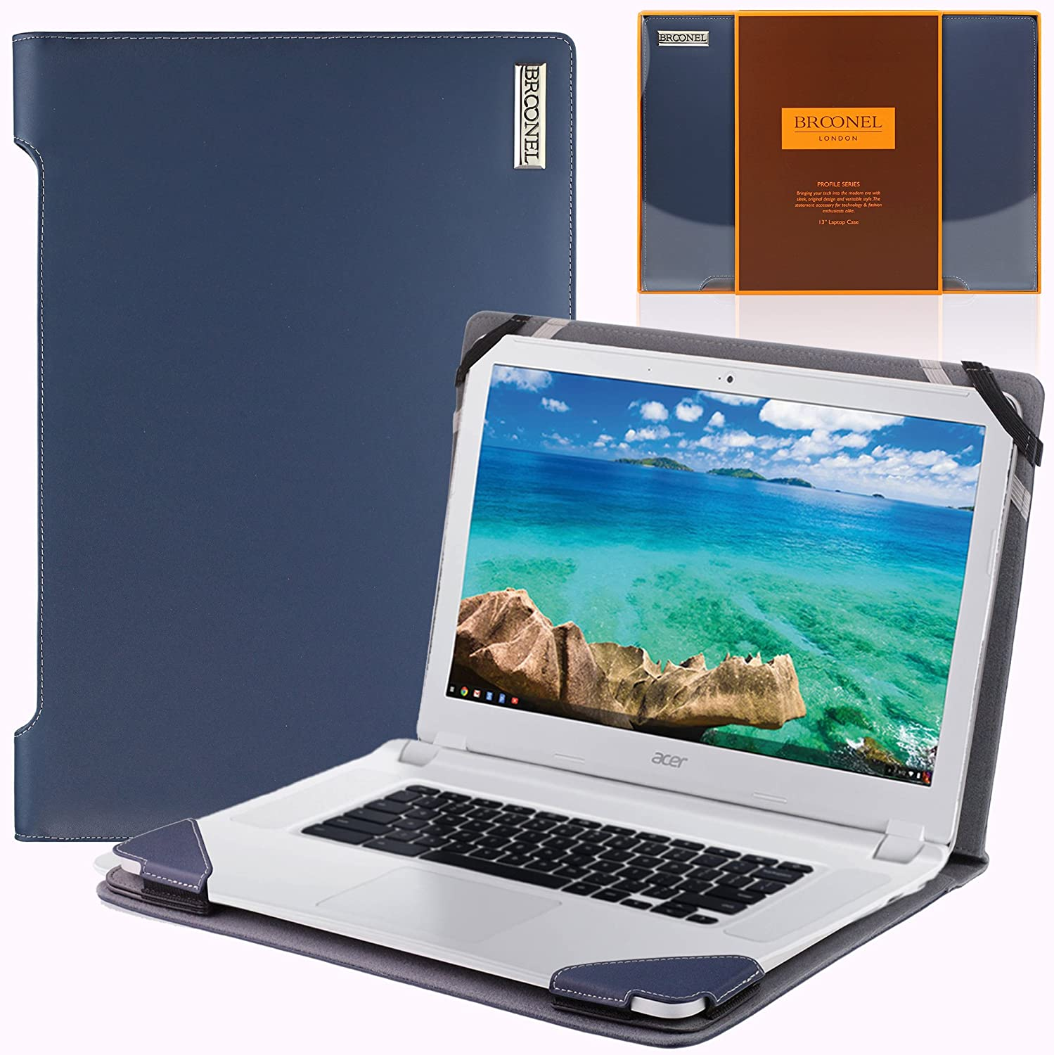 Broonel London - Profile Series - Blue Vegan Leather Luxury Laptop Case Cover Sleeve Compatible with The Acer Chromebook CB5-571 15.6""