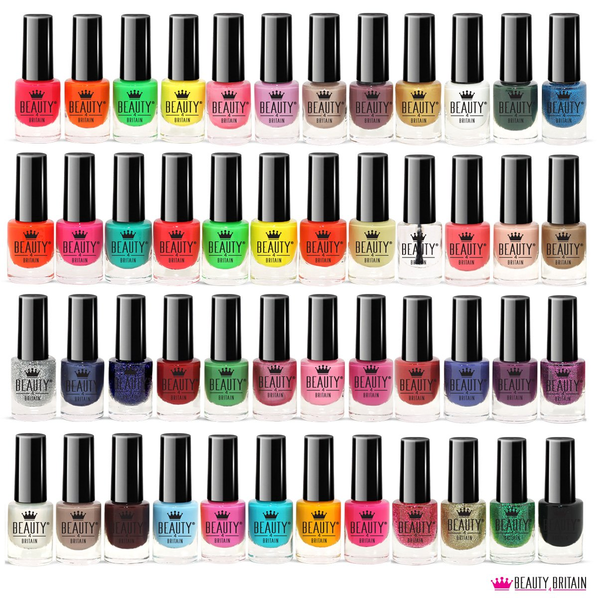 48 x NAIL POLISH VARNISH SET 48 DIFFERENT BRIGHT MODERN COLOURS UK Beauty4Britain
