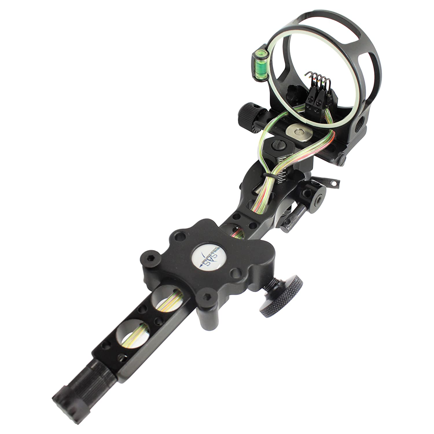 Southland Archery Supply SAS CNC Aluminum 5 Pin .019 Tool-Less Bow Sight with Micro Adjust Detachable Bracket LED Sight Light
