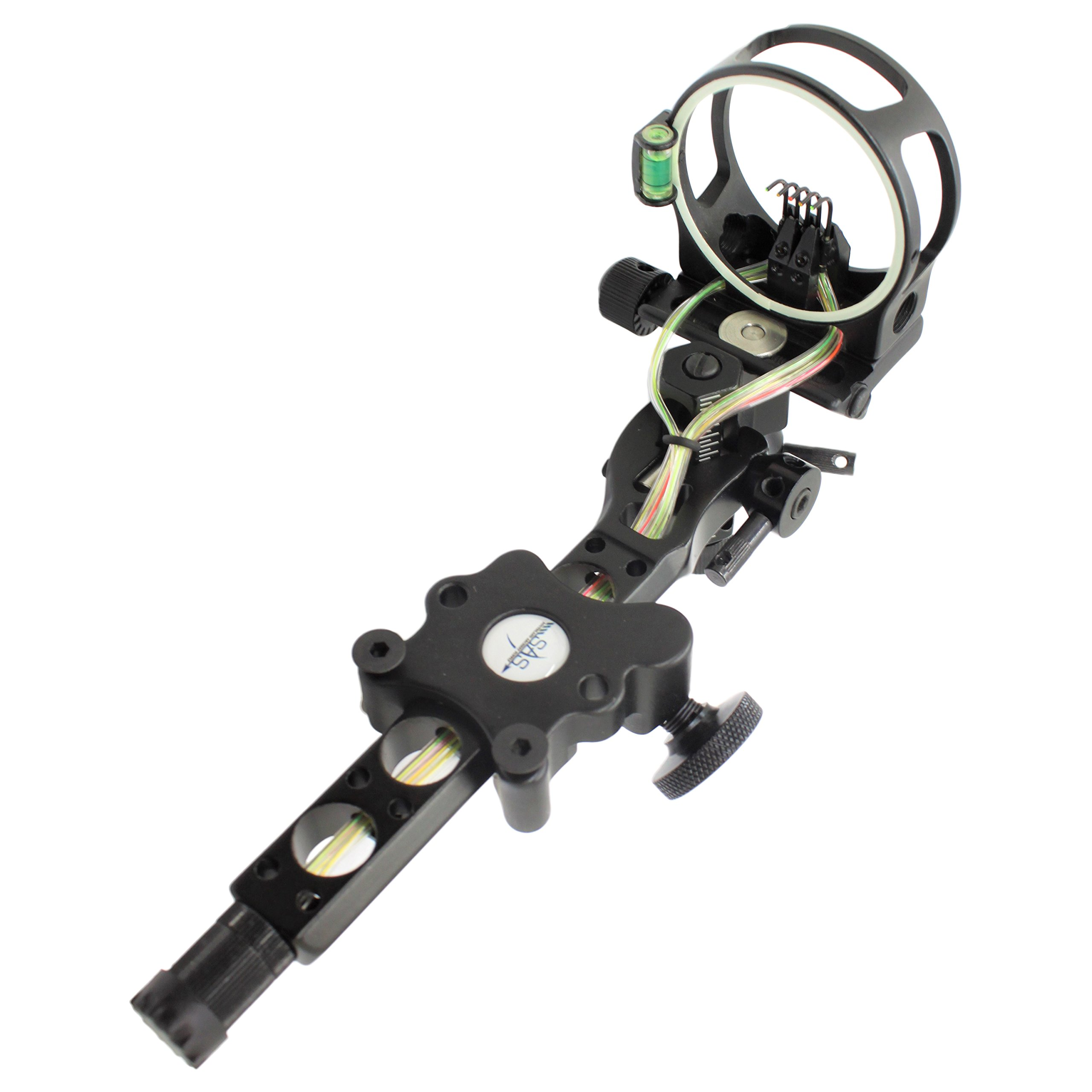 SAS CNC Aluminum 5 Pin .019'' Tool-Less Bow Sight with Micro Adjust Detachable Bracket LED Sight Light
