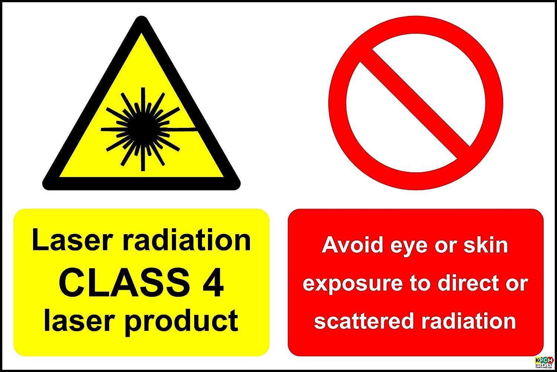rayonnement Laser Class 4 Laser Produit d'é viter les yeux ou la peau l'exposition au rayonnement Direct ou Scatted Sign –  Autocollant 300 mm x 200 mm KPCM Display
