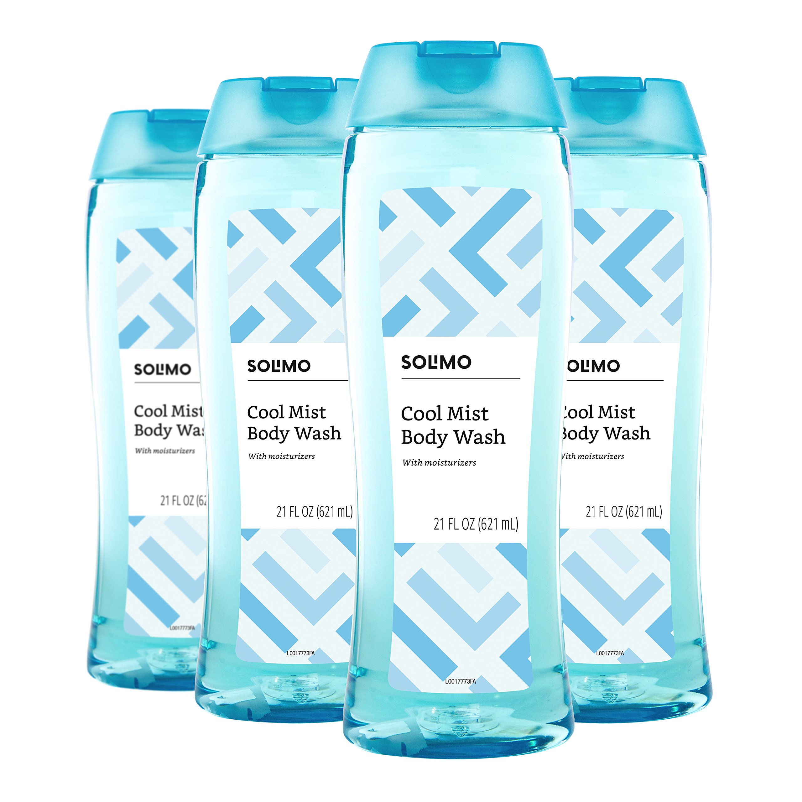 Amazon Brand - Solimo Body Wash, Cool Mist Scent, 21 Fluid Ounce (Pack of 4)