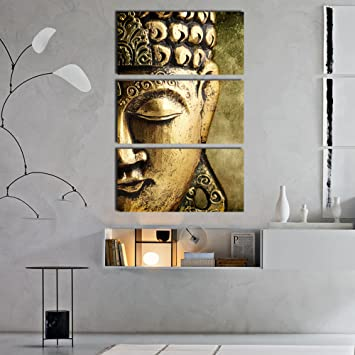 Craftter Golden Buddha 3 Pcs Hanging Metal Wall Art Painting Home Office Decor Indoor Outdoor