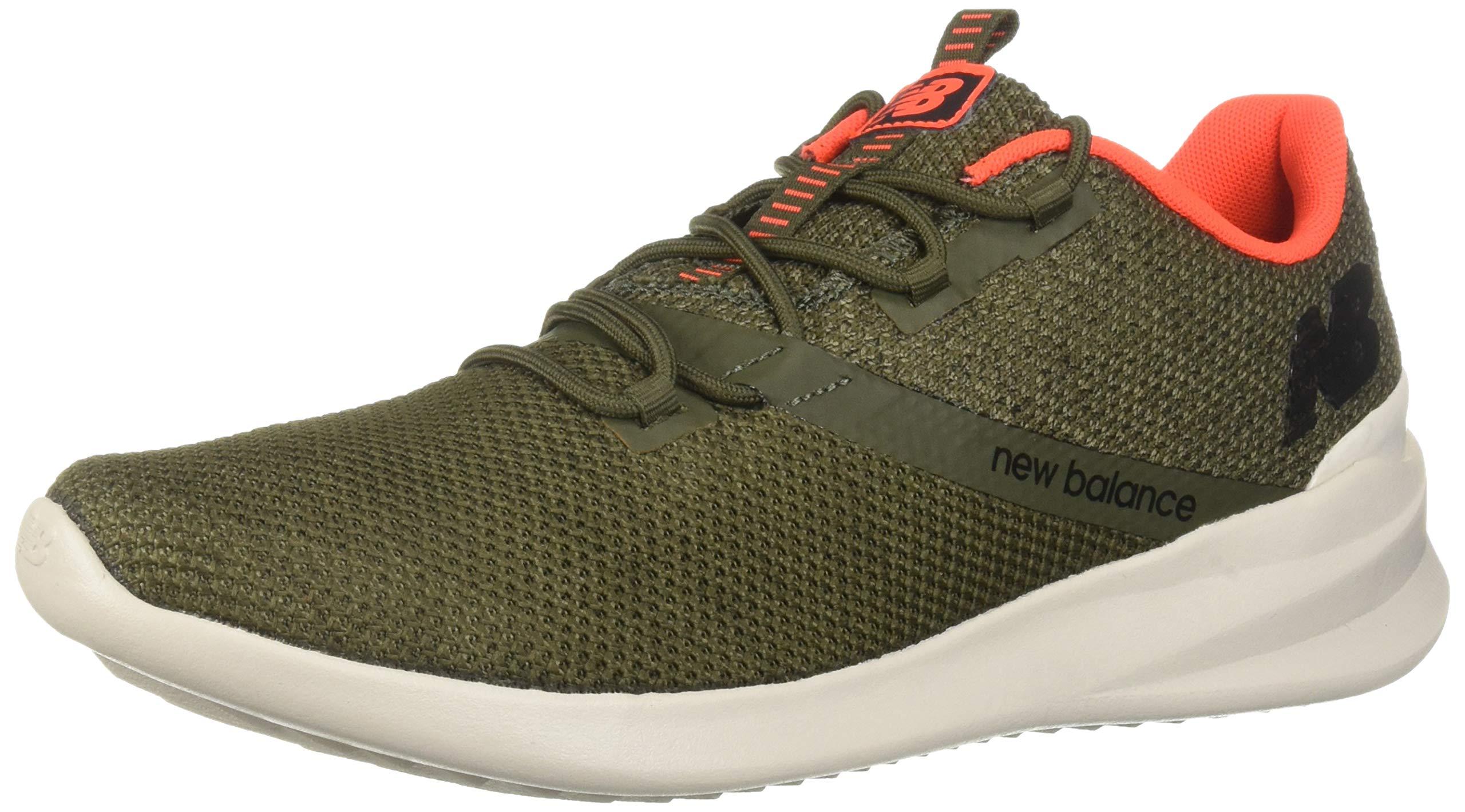 New Balance Men's District Run V1 CUSH + Sneaker, Serpent Green, 14 XXW US