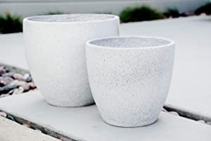 XBrand Set of 2 Different Sizes Modern Nested Round Concrete Planter, 14 Inch & 12 Inch Tall, Grey