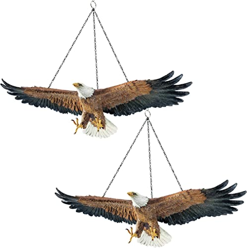 Design Toscano Flight of Freedom American Bald Eagle Hanging Bird Statue