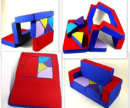 COSTWAY Canap/épour Enfant Convertible Jeu 4 en 1 Canap/é Puzzle Compos/é de Matelas Coloris Rouge+Bleu en EPE et PU Imperm/éable