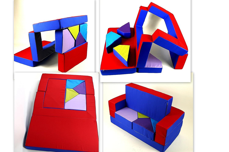 Barabike Spielsofa Adaptateur 4 en 1 Pliable spielmatraze Chambre d'enfant Bleu/Rouge spielpolster softsofa kinderzimmersofa Puzzle de Jeu Enfants