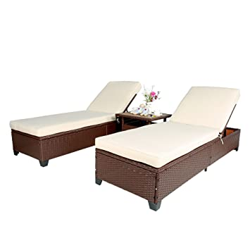 Phenomenal Amazon Com Homevibes 3 Pieces Outdoor Rattan Chaise Lounge Gmtry Best Dining Table And Chair Ideas Images Gmtryco