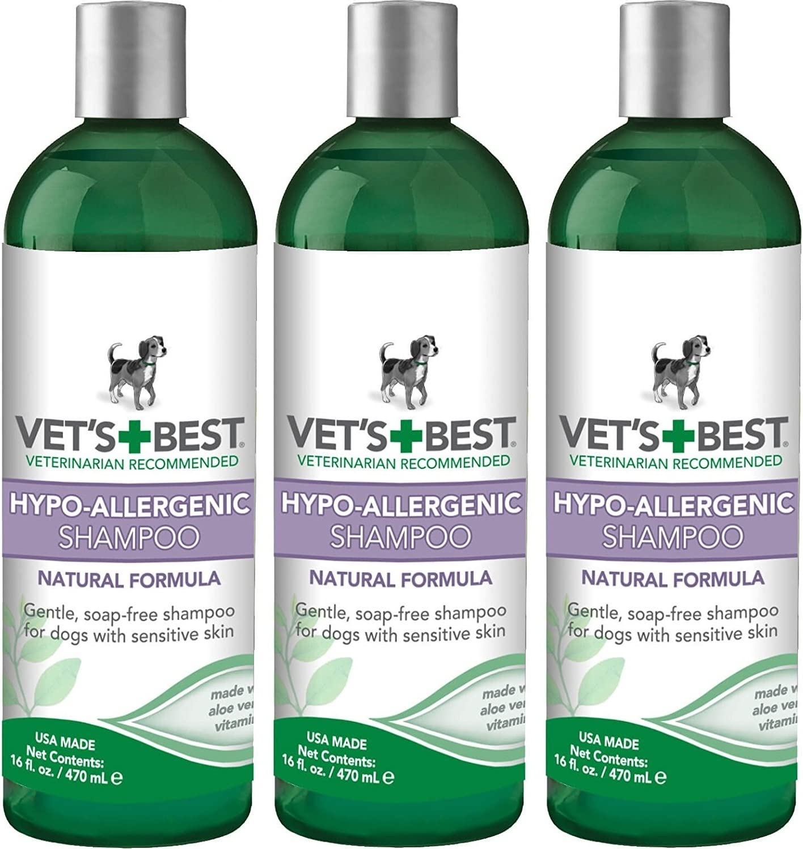 (3 Pack) Vet's Best Hypo-Allergenic Dog Shampoo for Sensitive Skin, 16 oz Per Bottle