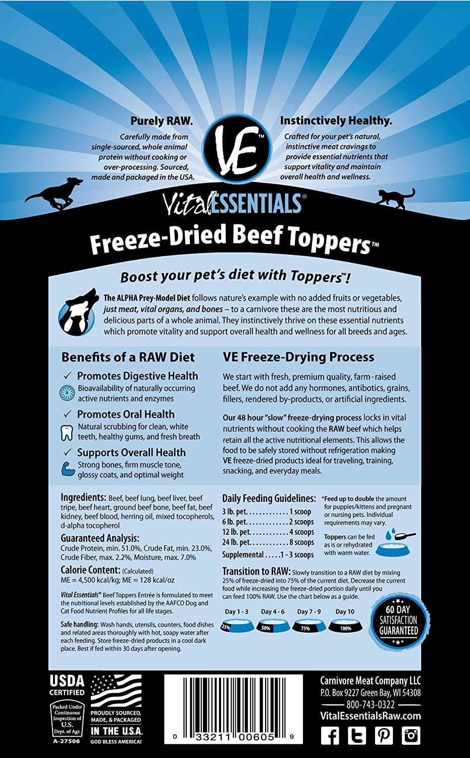 Vital Freeze Dried Beef Toppers For Cats & Dogs 6oz Bag by