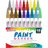 U.S. Art Supply 18 Color Set of Fine Point Tip Oil Based Paint Pen Markers - Permanent Ink that Works on Most Surfaces Glass, Wood, Metal, Rubber, Stone, Arts, Crafts & Tools