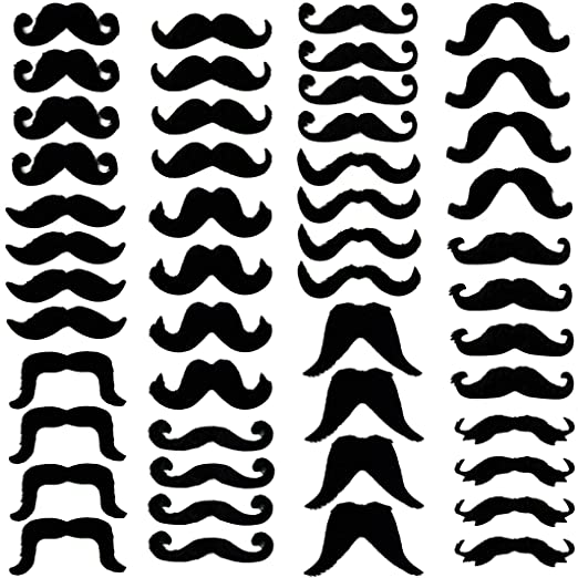522bf3fd66b Amazon.com  Tigerdoe Fake Beards for Adults Kids - Costume Accessories -  Beard   Mustache - Fake Mustaches (48 Pack Mustaches) Black  Clothing