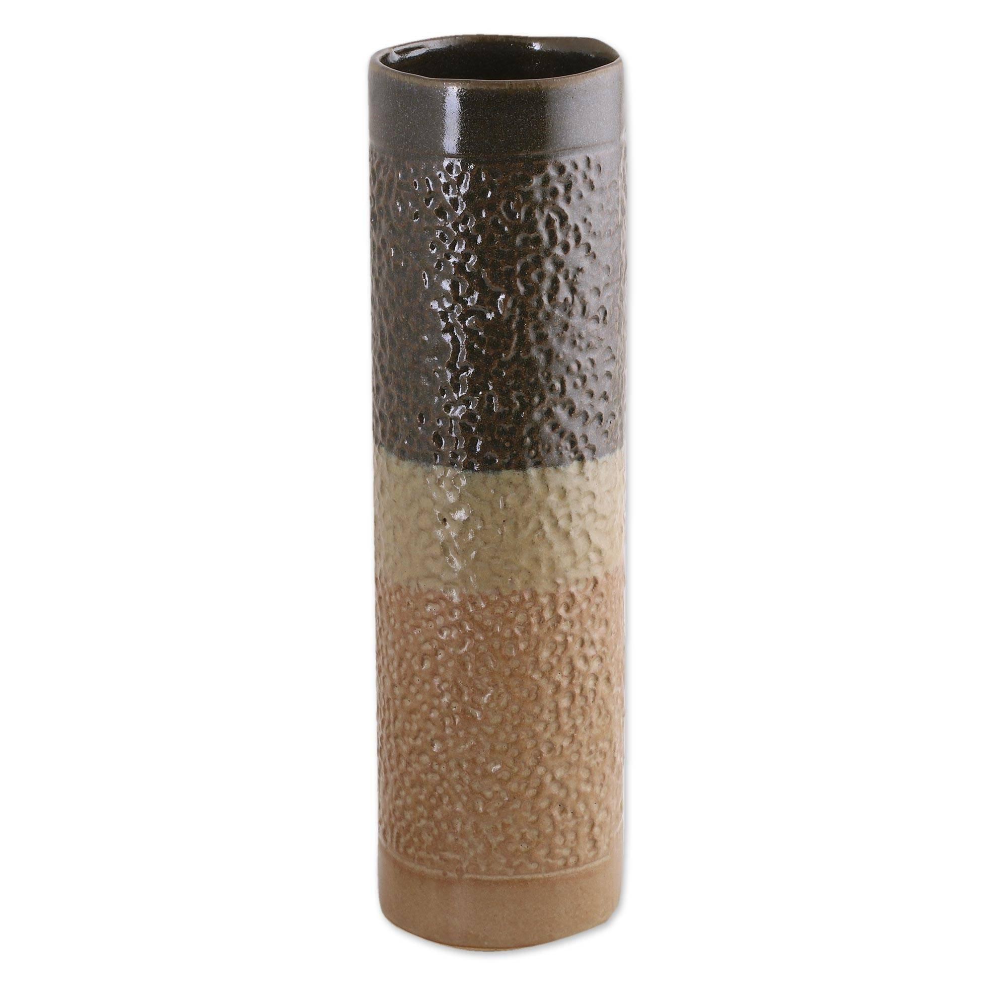 NOVICA Decorative Ceramic Vase, Beige Brown, 'Gravity Pillar'