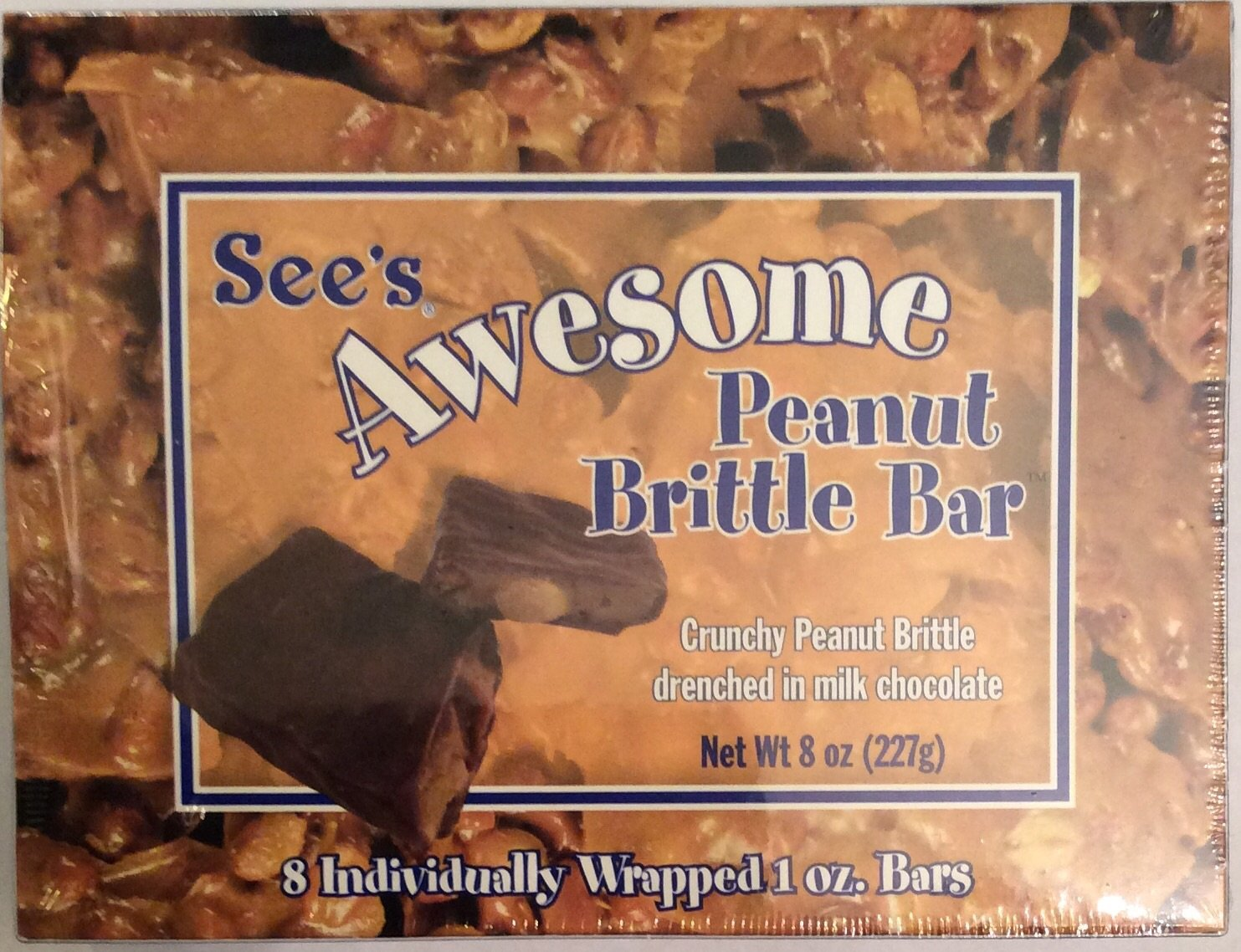 See's Candies Awesome Peanut Brittle 8 Bars (Pack of 1)