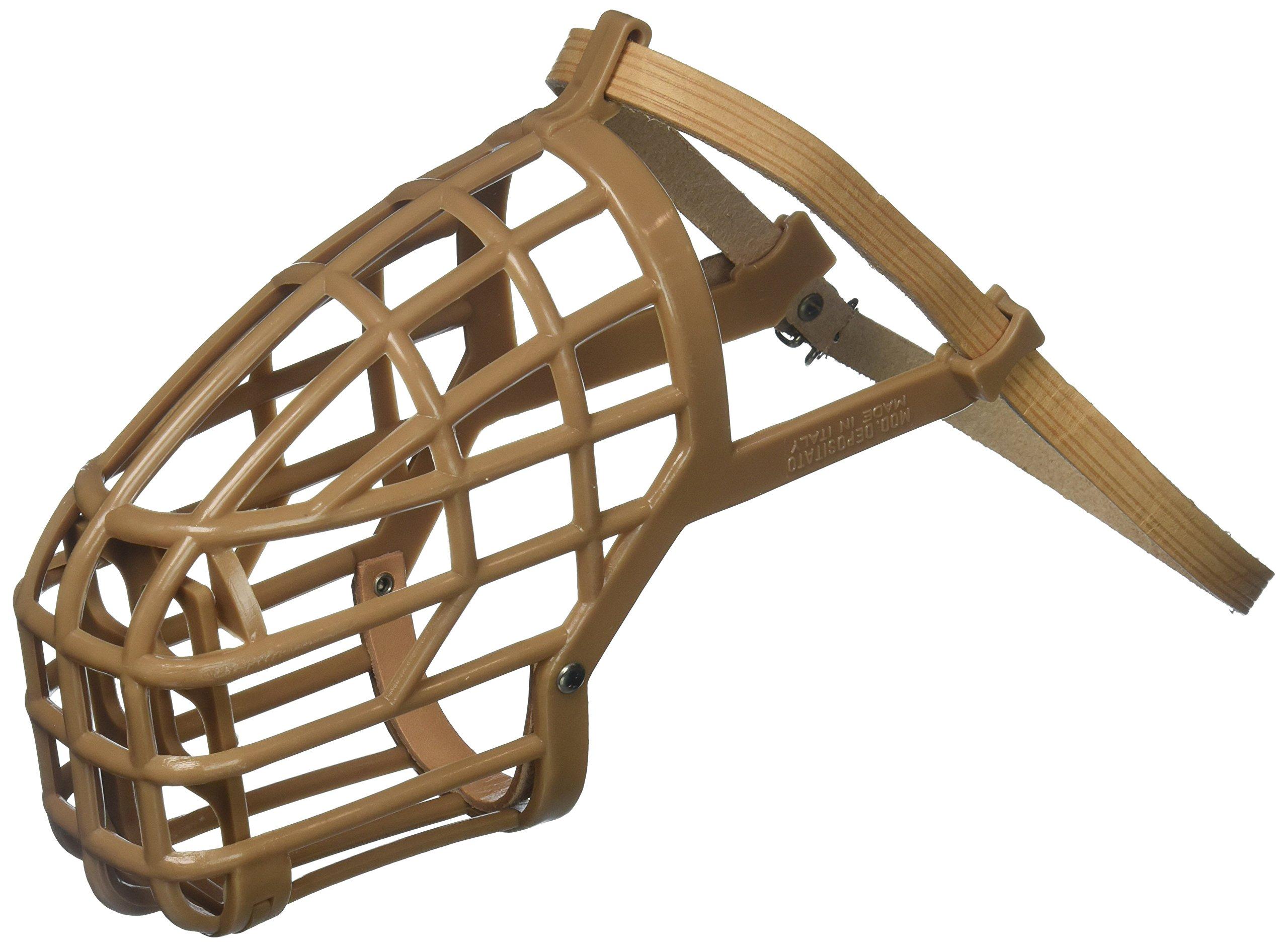 OmniPet Leather Brothers Italian Basket Dog Muzzle, Tan, Size 8