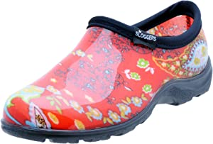 Sloggers Women's WaterproofRain and Garden Shoe with Comfort Insole, Paisley Red, Size 8, Style 5104RD08