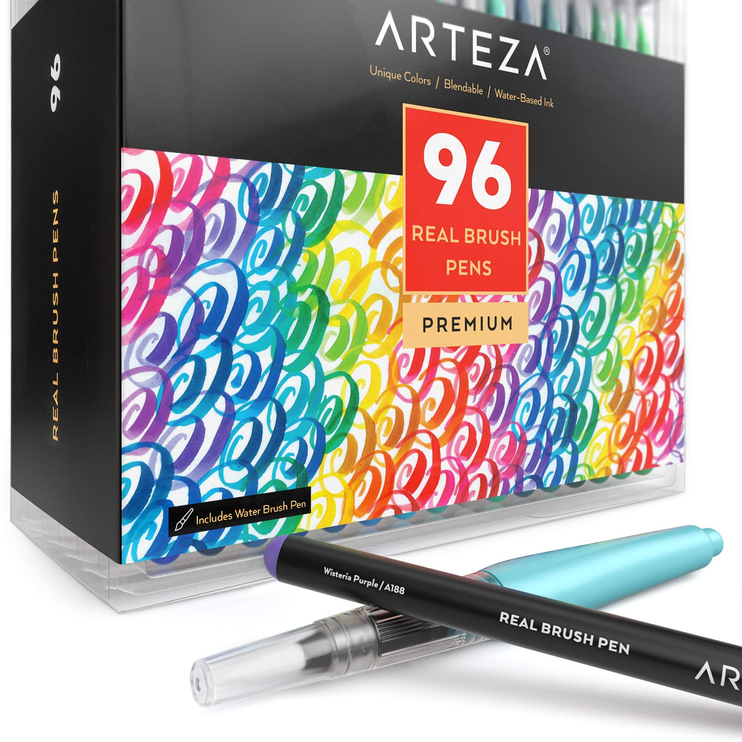 Arteza Real Brush Pens, 96 Paint Markers with Flexible Brush Tips, Professional Watercolor Pens for Painting, Drawing, Coloring with Water Brush, 100% Nontoxic by ARTEZA