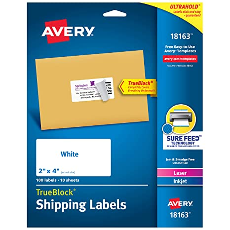 image about Jar of Nothing Printable Label Free titled Avery Transport Include Labels, Laser Inkjet Printers, 100 Labels, 2x4 Labels, Lasting Adhesive, TrueBlock (18163), White