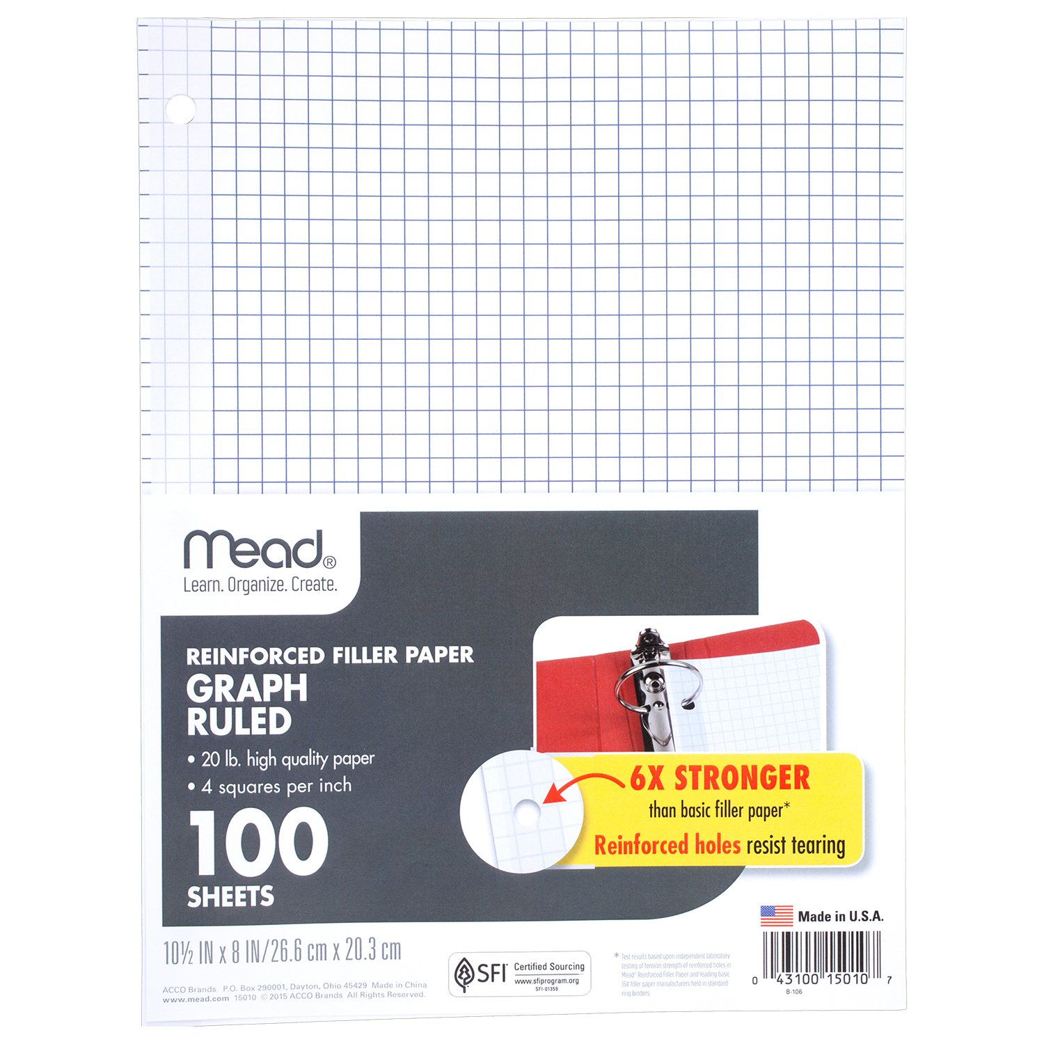 Mead Filler Paper, Loose Leaf Paper, Graph Ruled Paper, Q4, 100 Sheets, 10-1/2'' x 8'', Reinforced, White, 3 Pack (38040) by Mead (Image #2)