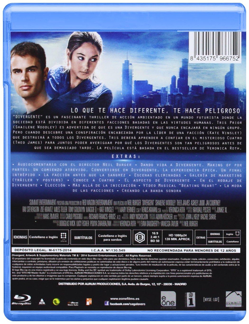 Divergente (Bd) [Blu-ray]: Amazon.es: Shailene Woodley, Theo James, Neil Burger, Shailene Woodley, Theo James, Erik Feig: Cine y Series TV