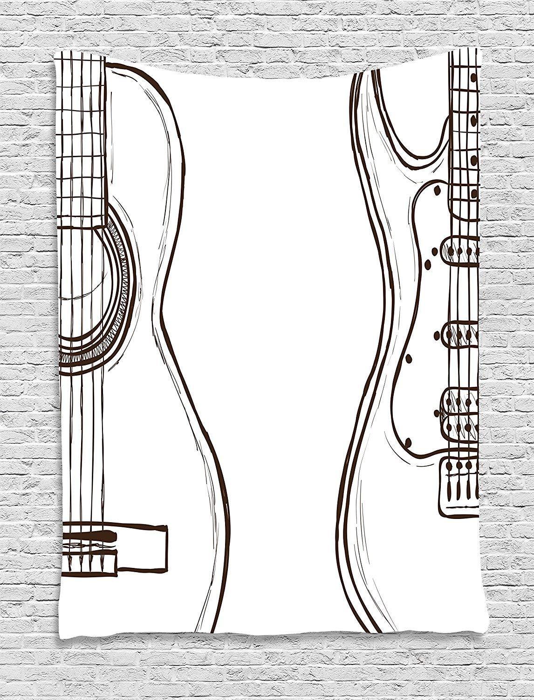 Tapices de Pared Guitar Tapestry Hand Drawn Monochrome Doodle Illustration of Instruments of Two Kinds Music decoraci/ón para el hogar,para dormitorios,Salones o como Manta para Playa 60 W X 80 L