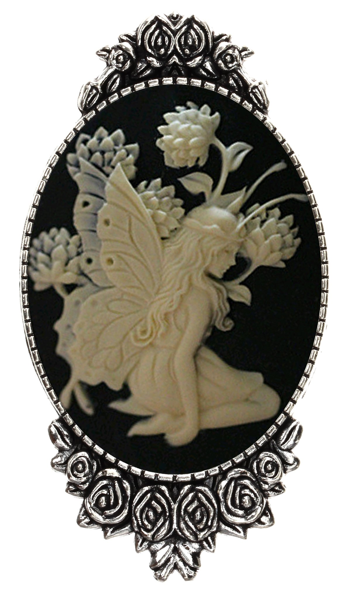Lotus Butterfly Brooch Pin Rose Decor Antique Silver Fairy Angel Jewelry Pouch for Gift