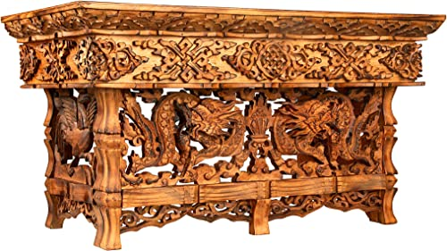 Hand Carved Altar Table Small Meditation Puja Sheesham Wood Unique Dragon Large