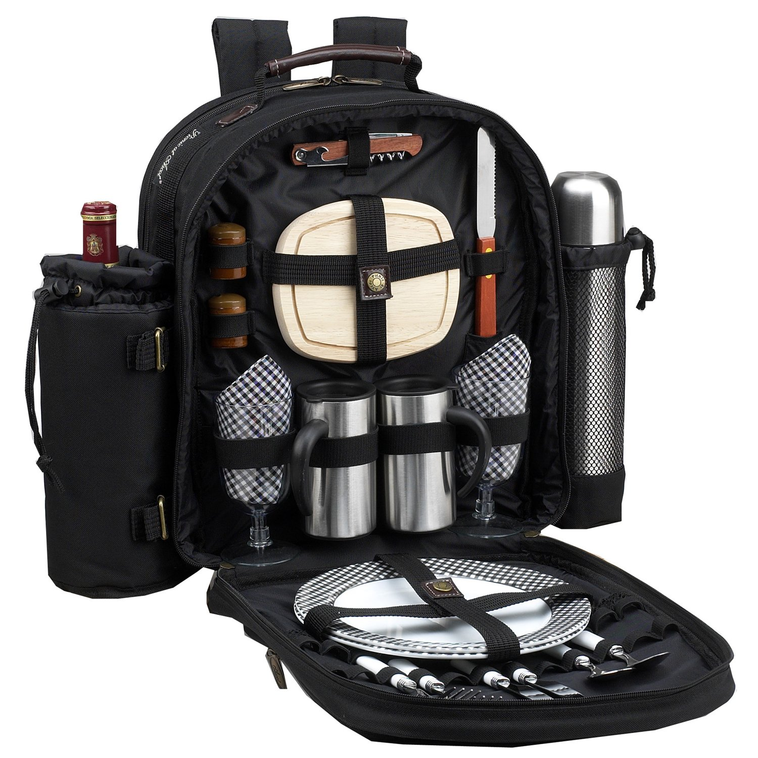 Picnic at Ascot - Deluxe Equipped 2 Person Picnic Backpack with Coffee Service, Cooler & Insulated Wine Holder - Black
