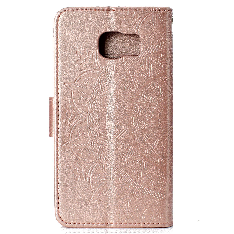 3f8f9e3d810f93 Misteem Etui Galaxy S6 Edge Fleur de Mandala Coque, Créatif Floral Cover  Folio Portefeuille Cuir Protection Couverture PU Magnétique Carte Housse  pour ...