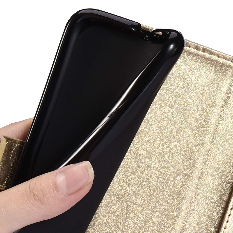 Coque Compatible avec Huawei Honor View 10//V10 Portefeuille Etui PU Cuir Chouette Motif Flip Housse Impression Premium Fentes pour Cartes Support Magn/étique Antichoc Gaufrage Carillons Bumper,Noir