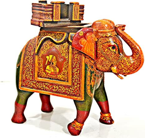 Craftvatika metal Painted pair Elephant figurine Lucky Trunk Up Elephant Animal Decor statue Thai Elephant statue
