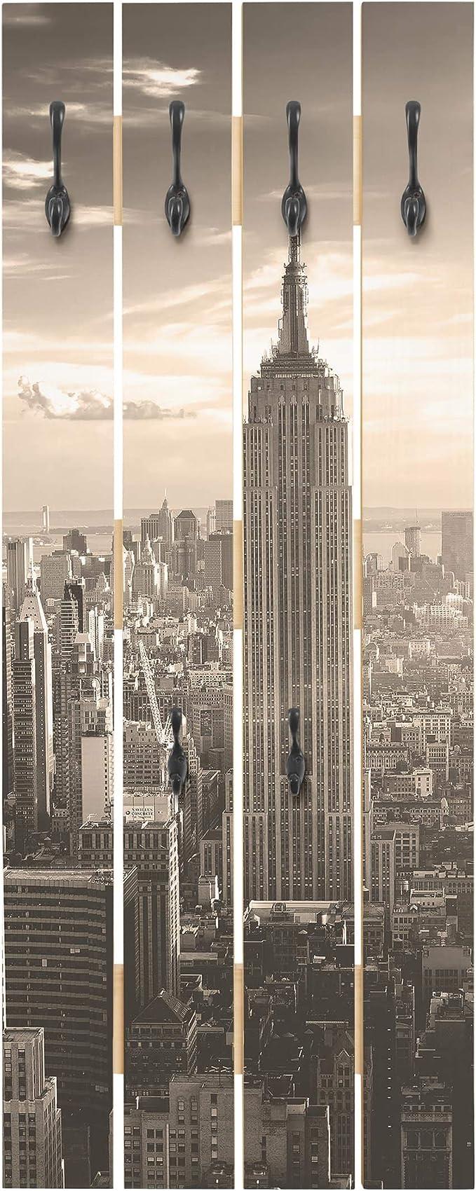 Bilderwelten Perchero de Madera - Manhattan Skyline - Ganchos ...