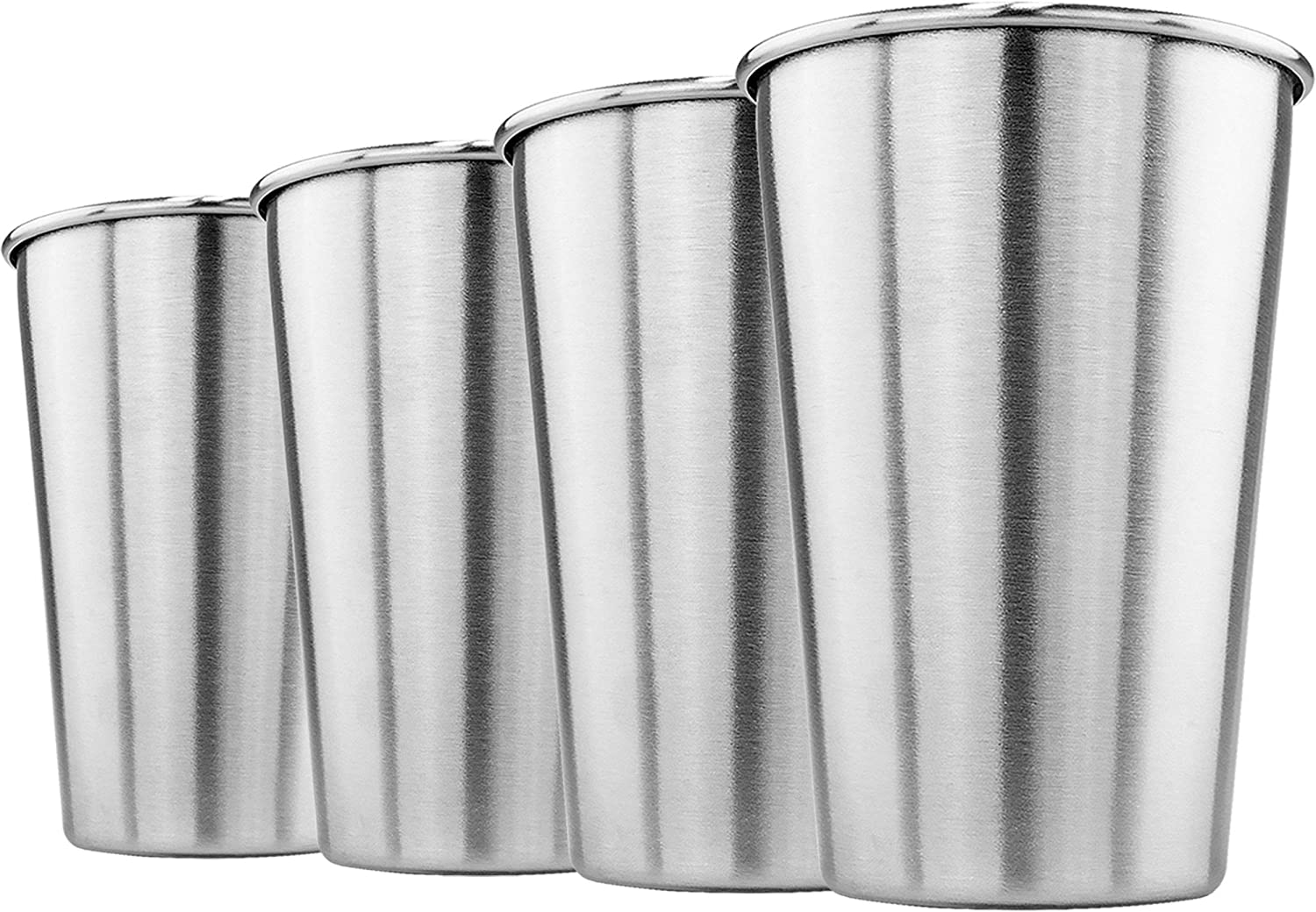 Southern Homewares Stainless Steel Pint Glass 16oz Metal Cup Beer Soda Drink Tumbler Set of Four