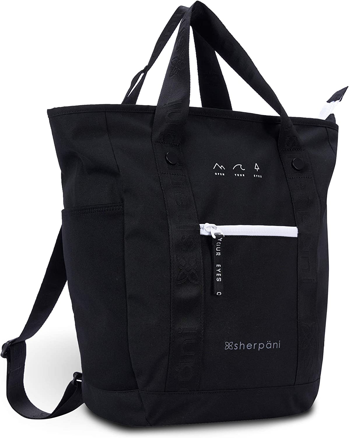 Sherpani Via, Convertible Backpack, Tote Bag with Coin Purse, Casual Daypack, Backpack Purse for Women Fits 13 Inch Laptop (Black)