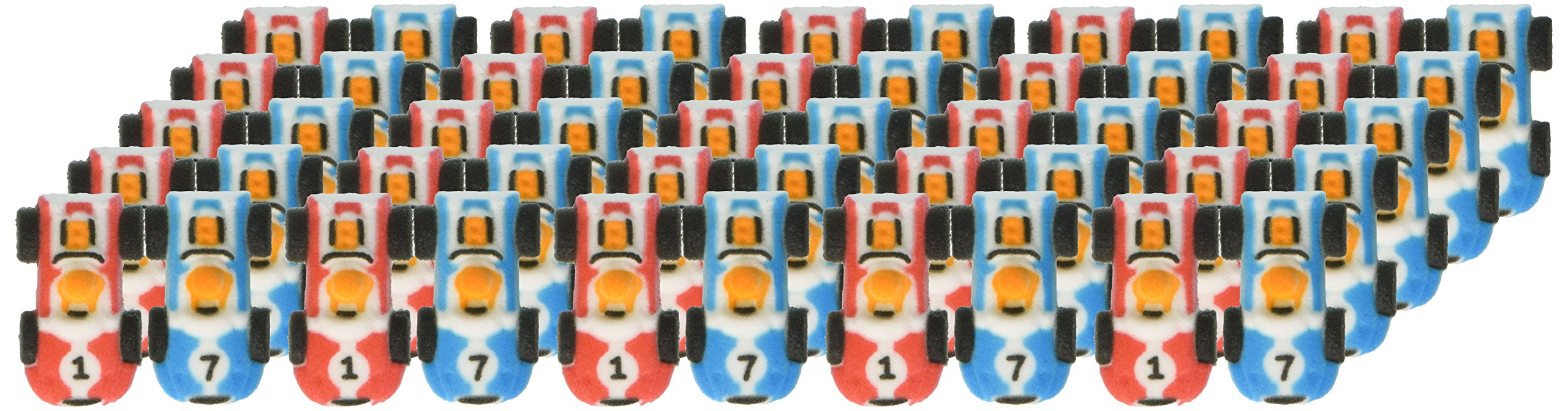 Lucks Dec-Ons Decorations Molded Sugar Cupcake Topper, Mini Race Cars Assortment, 2 Inch, 50 Count