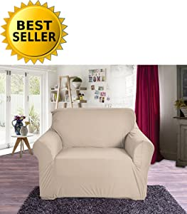 Elegant Comfort Collection Luxury Soft Furniture Jersey Stretch SLIPCOVER, Chair Linen