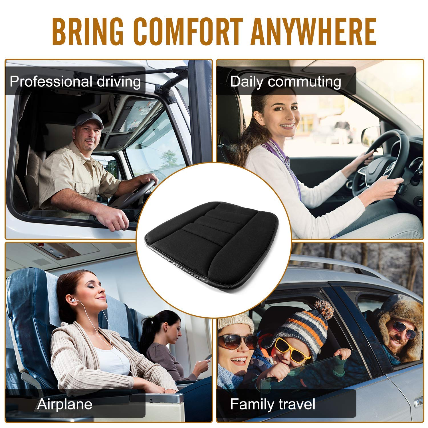 SmartDirect Coccyx Care Memory Foam Seat Cushion for Car Office Home Use Gray