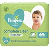 Baby Wipes, Pampers Complete Clean UNSCENTED 3X Pop-Top, Hypoallergenic and Dermatologist-Tested, 216 Count (Packaging May Va