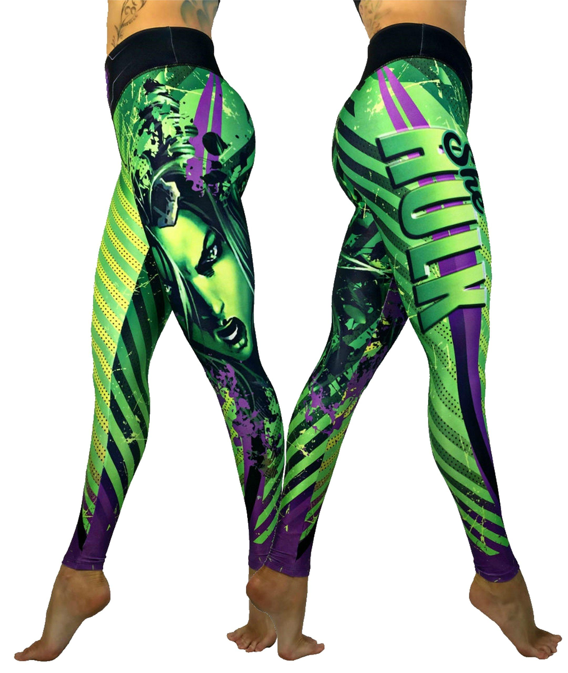 Exit 75 Superhero Many Styles Leggings Yoga Pants Compression Tights (She Hulk Green Sm/Med)