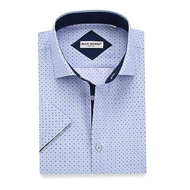 70bfdefd3 Alex Vando Mens Dress Shirts Casual Regular Fit Short Sleeve Printed Men  Shirt(Blue1132,