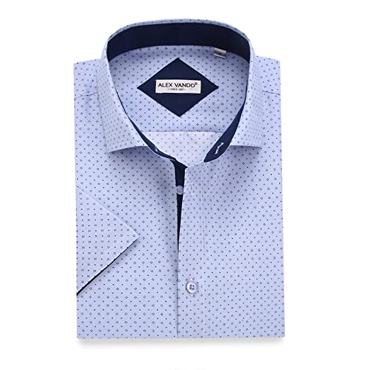 af58dcb4abd Alex Vando Mens Dress Shirts Casual Regular Fit Short Sleeve Men Shirt