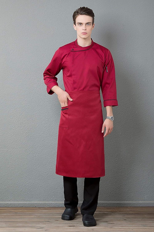 XSMG Unisexe Vestes de Chef Manches Longues Caf/é Patisserie V/êtements Travail Uniformes