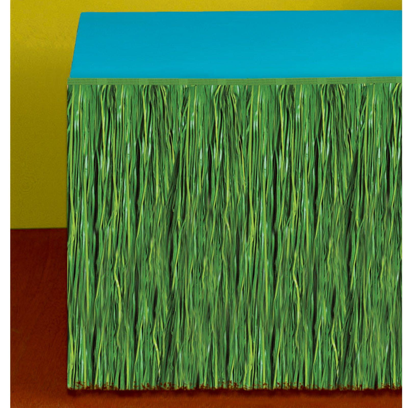Amscan Hawaiian Luau Party Grass Table Skirt Tropical Summer Beach Picnic Table Decoration, Plastic, Green, 9' x 29''