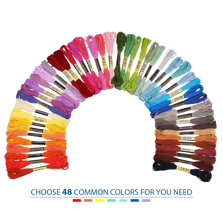 Madejas de Hilos 144 Madejas 48 Colores Fuyit Hilos de Bordar de ...